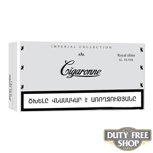 Пачка сигарет Cigaronne Royal Slims XL Filter White 120mm