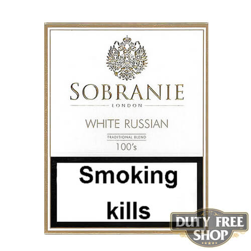 Пачка сигарет Sobranie White Russian 100's Duty Free